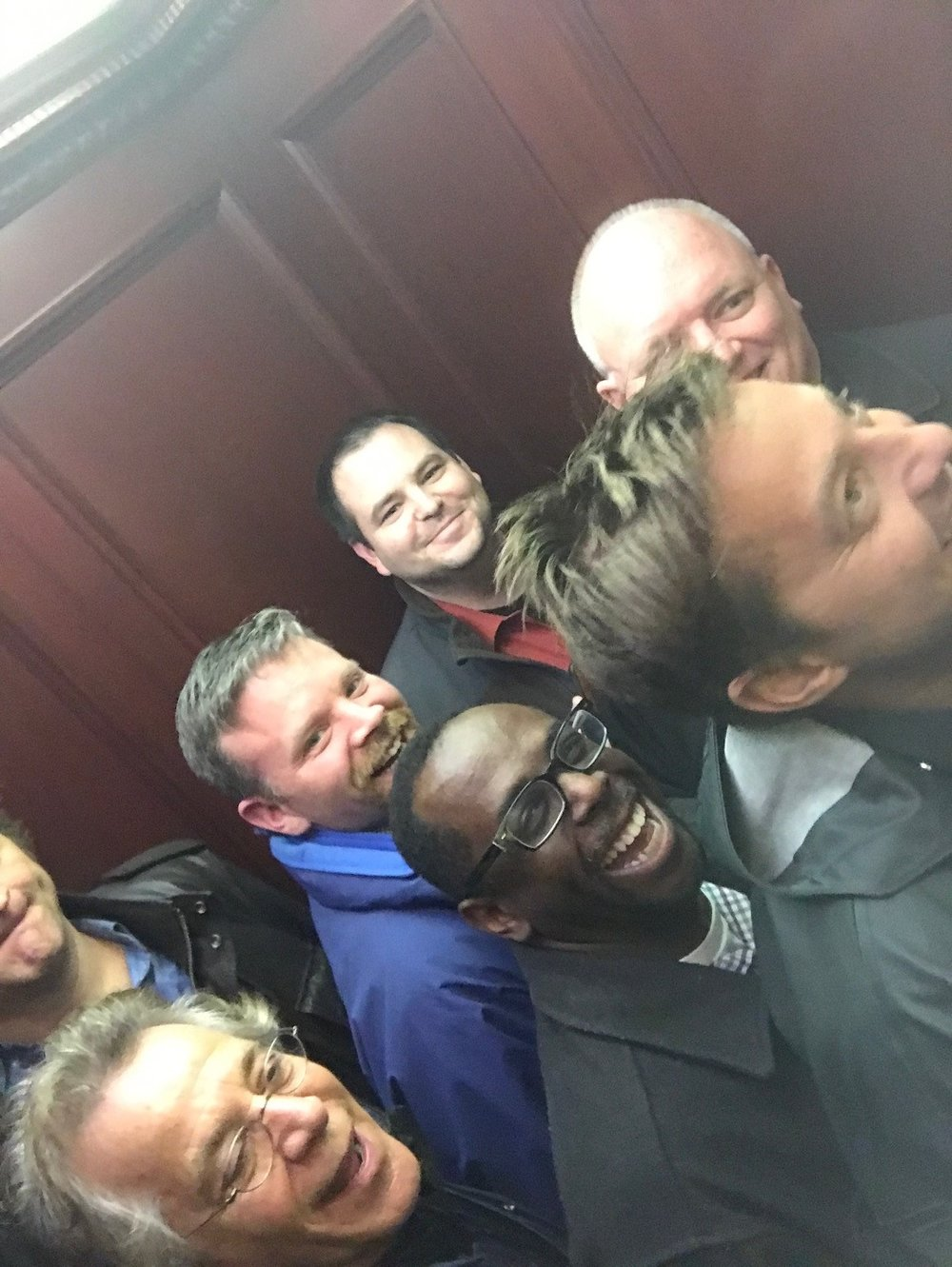 Yes, we all fit in the elevator.