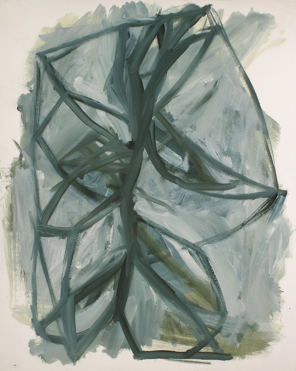 "Weed III , oil on paper, 14"" x 11"", 2010"