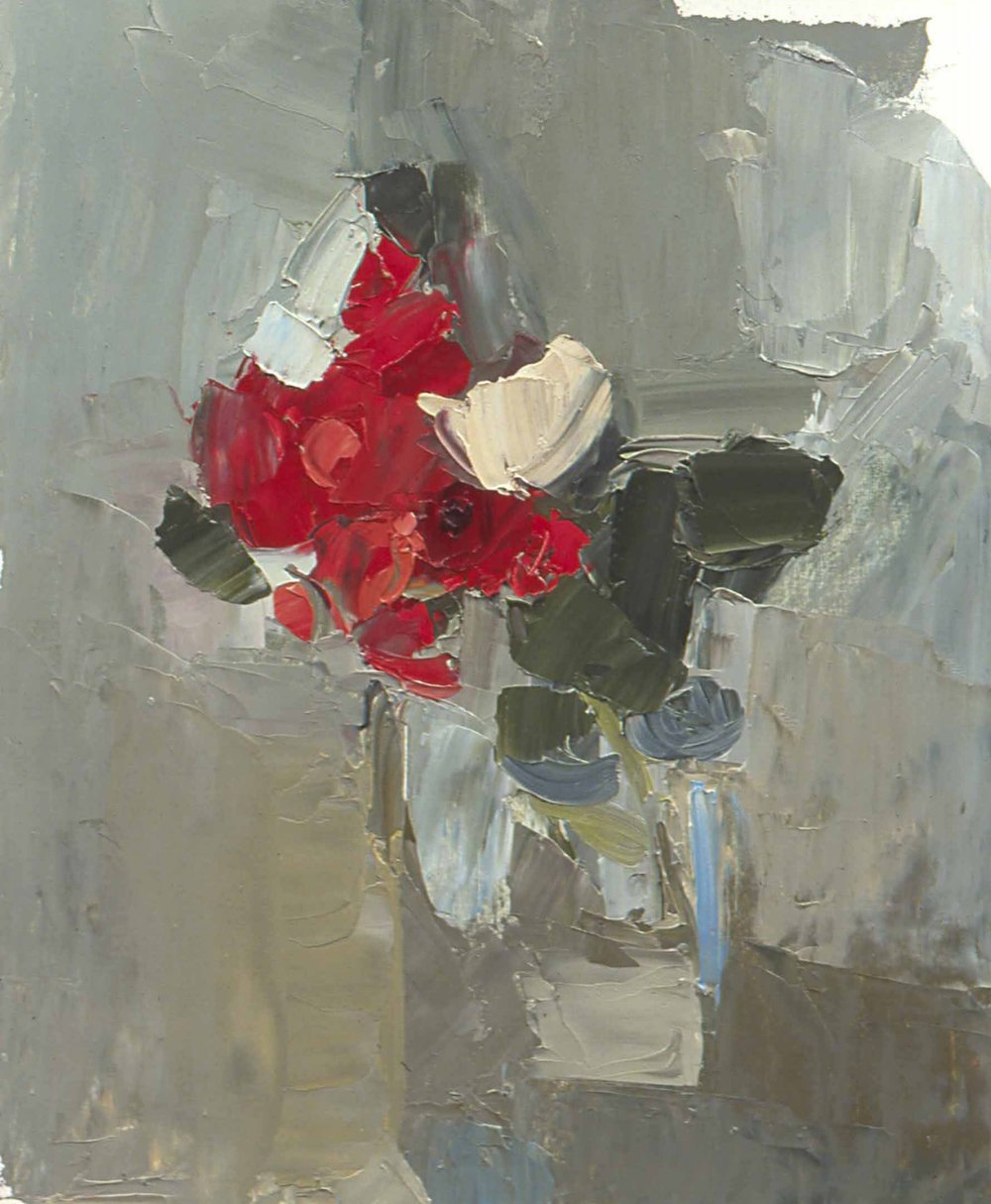 "Don's Roses , oil on paper, 12"" x 10"", 2005"