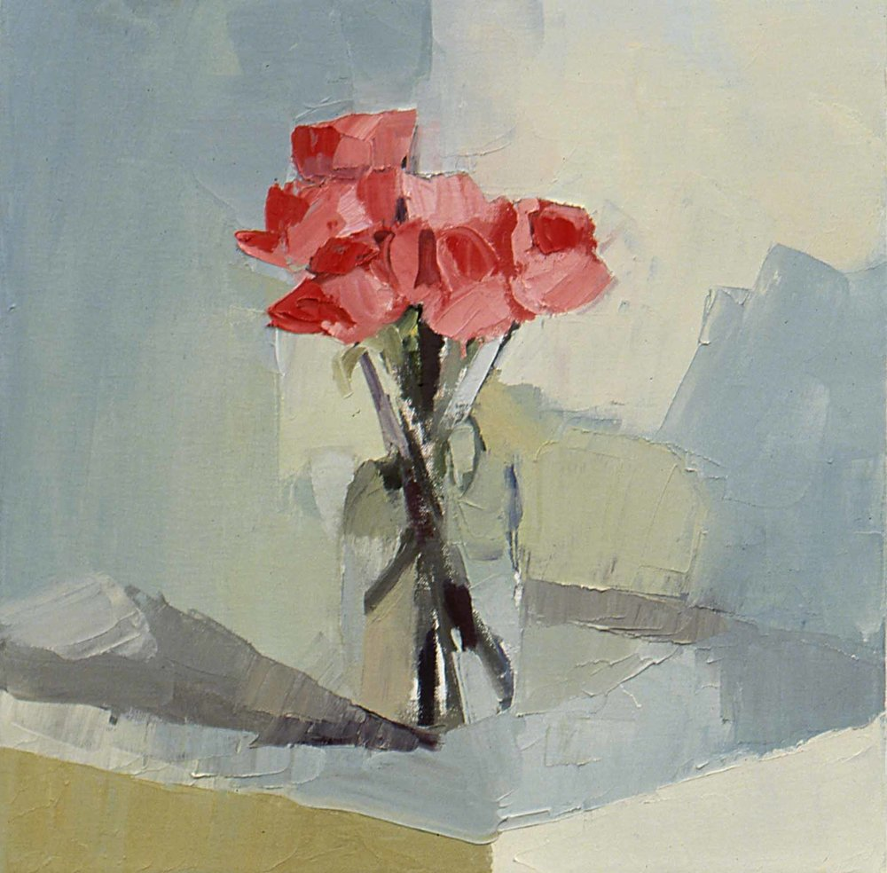 "Walking Roses , oil on canvas, 16"" x 16"", 2004"