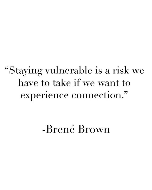 Some Thursday wisdom brought to you by the wonderful @brenebrown . • • I have seen the topic of vulnerability transform communities, businesses, and politics. Brené has shared some groundbreaking research on what vulnerability looks like and the potential it has for transformation. • • As a family therapist I am passionate about beginning {at times uncomfortable} conversations. What does vulnerability look like in your family? In your marriage? Are difficult moments involving raw emotion hidden from others? From your children? This quote reminds us that staying vulnerable is linked to true, authentic connection. The type of connection that heals. The connection we crave.  The connection that helps children thrive. • • • • • #timetotalk #familytherapy #vulnerability #justforparents #parentingcoach