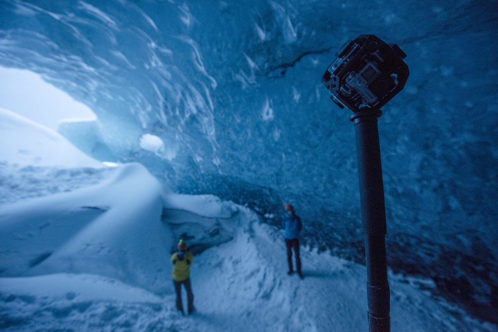 A 360-degree camera in an ice cave in Iceland while filming a project on climate change and glacial melting.
