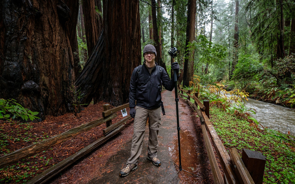 Reporting in Muir Woods National Monument for The Washington Post in 2016. (Photo by Ryan Jones)