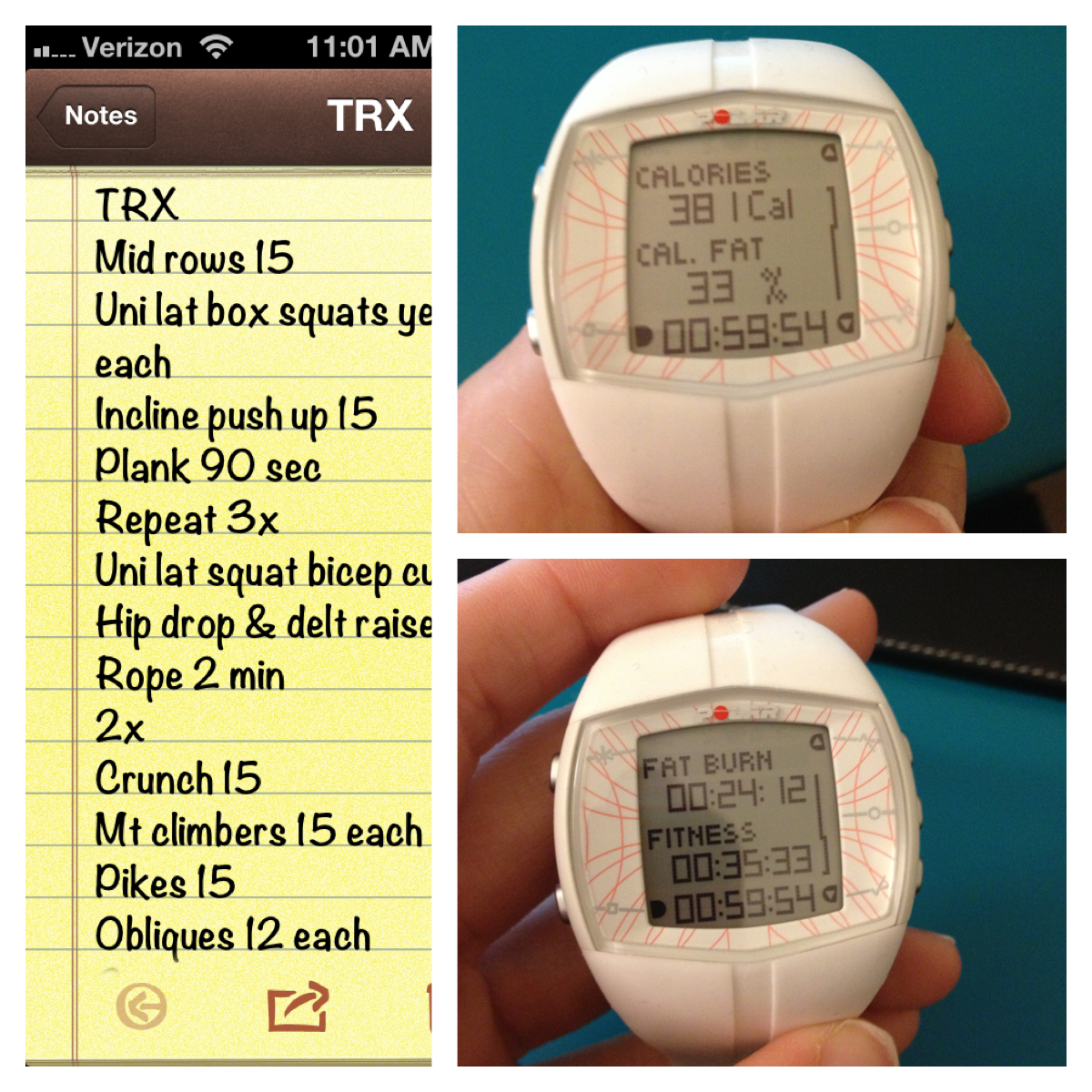 TRX; cardio bursts and only a few calories burned