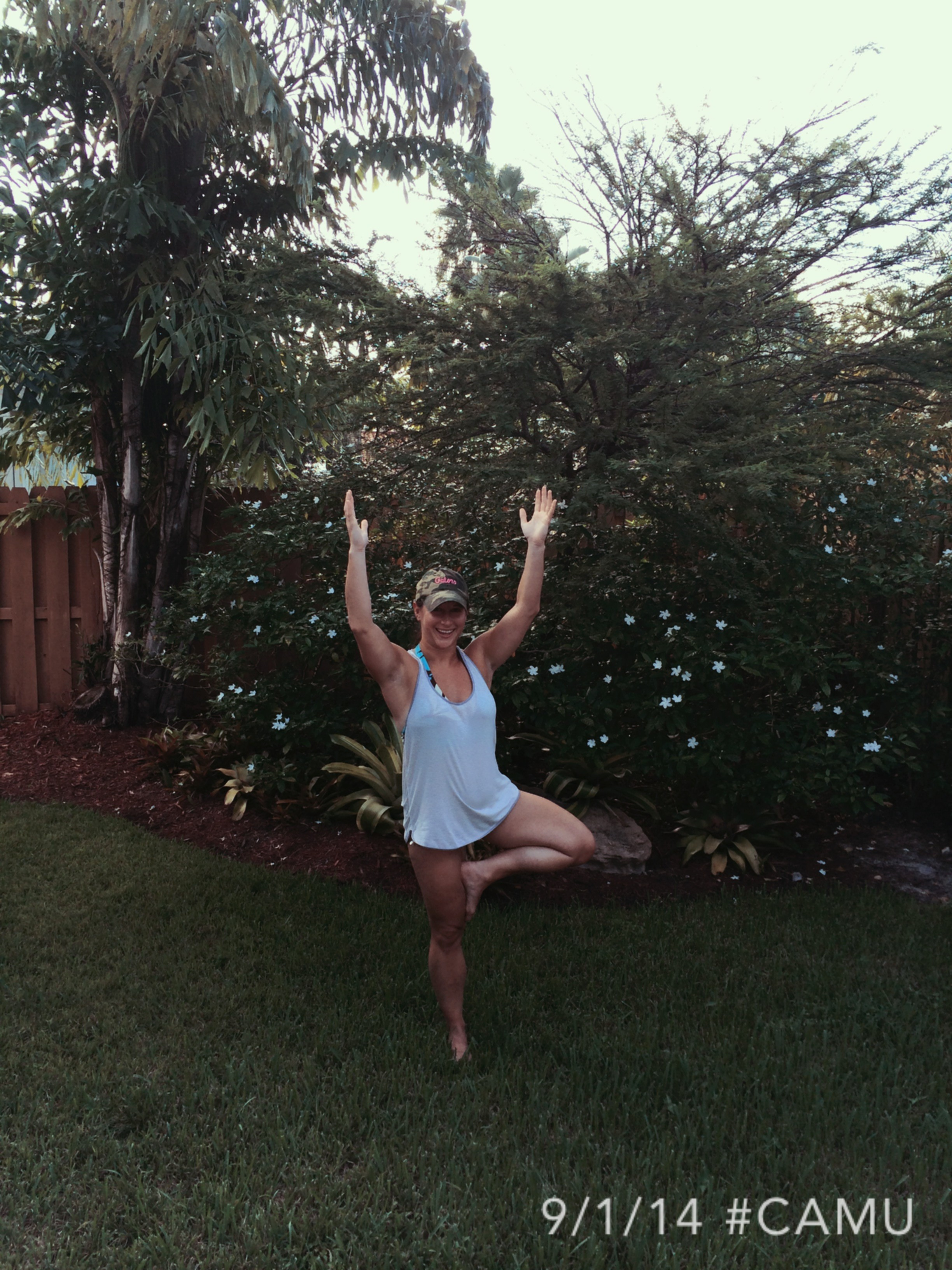 A little tree pose post floating in the pool at my inlaws