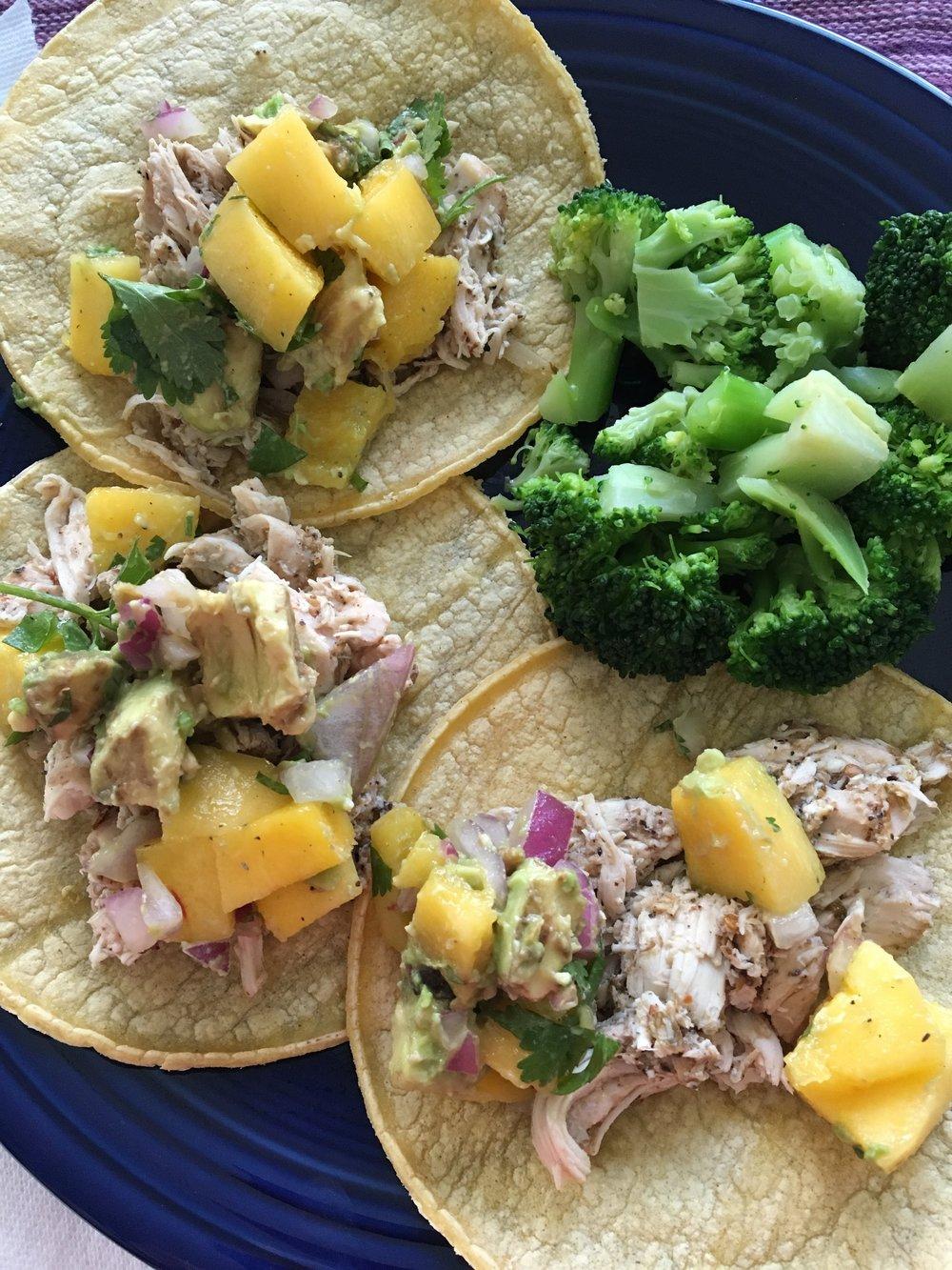 Crockpot jerk chicken tacos with mango salsa