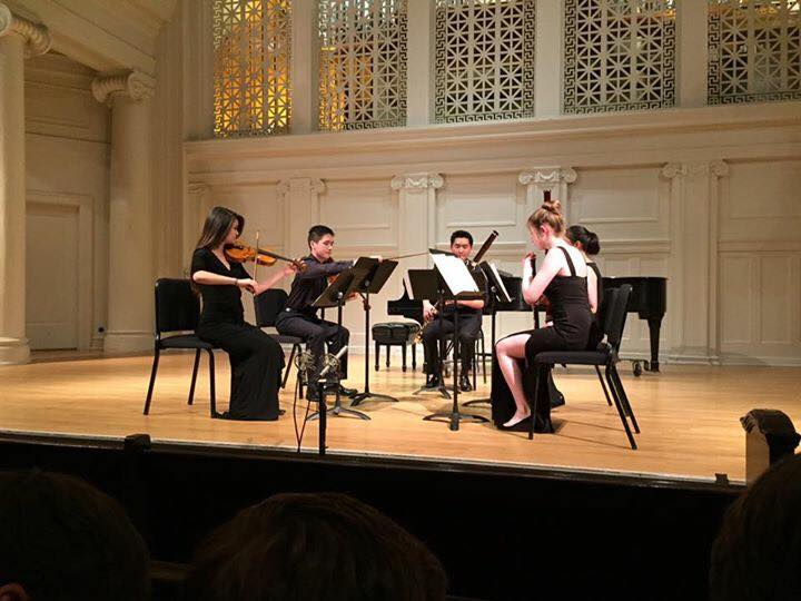 Sabrina Park, Eric Stinehart, Hunter Chang, Maddy Tung, and Annie Pinkerton  Performing SHEMA at the Music Institute of Chicago's Nichols Concert Hall in Evanston, IL