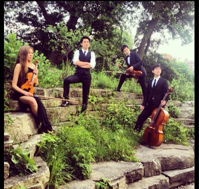 Emelia Suljic, Hunter Chang, Yong Park, and Eric Stinehart  Performing Hunter Chang's arrangements for a wedding ceremony at Peggy Notebaert Nature Museum
