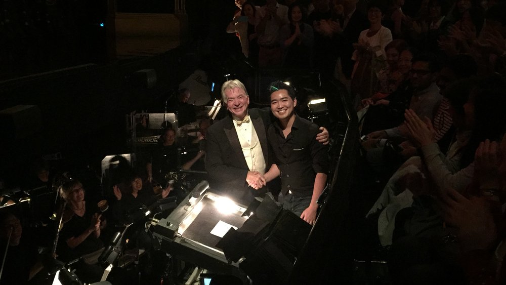 Hunter Chang and Tim Stella (Conductor of Phantom of the Opera) shaking hands after Hunter conducted