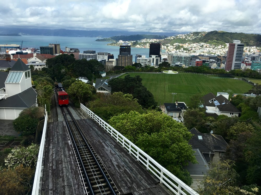 Taking the trolley up to Wellington Botanical Gardens