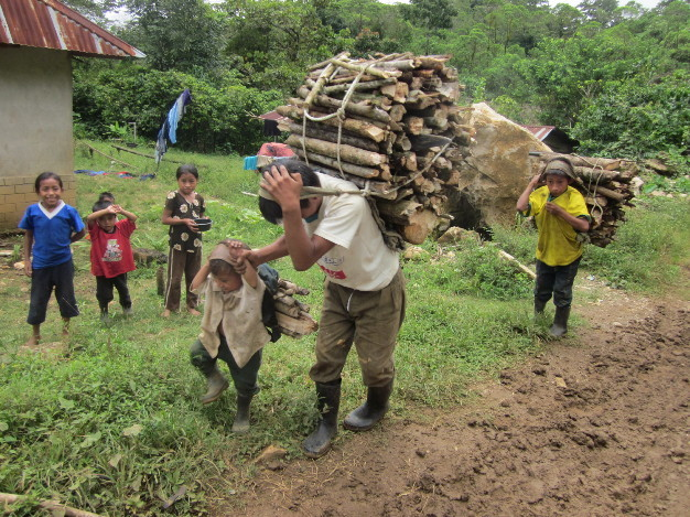 The task of collecting wood falls largely on the women and children.