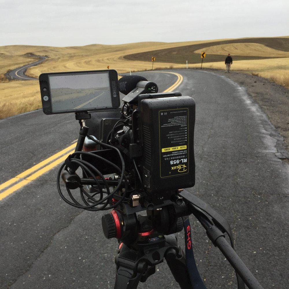 The camera rig, Evan, and backroads of Cheney Washington.