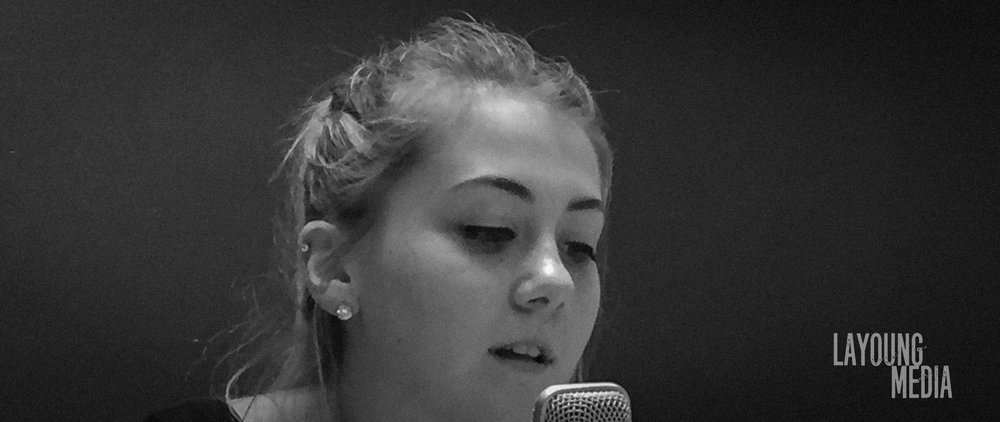 Ashley (voice talent) during voice over recording for Alpha Xi Delta sorority at Eastern Washington University.