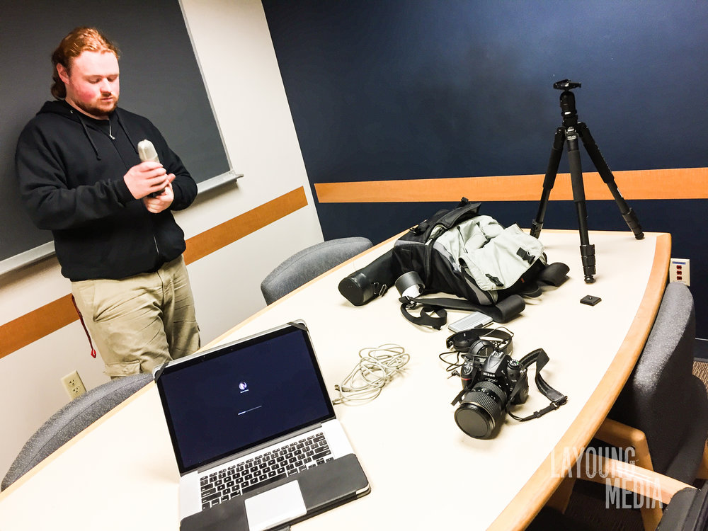 Evan prepping the great before recording Evan sorority at Eastern Washington University.