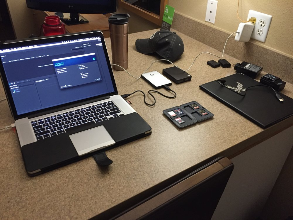 Anywhere can be a desk during mobile productions.
