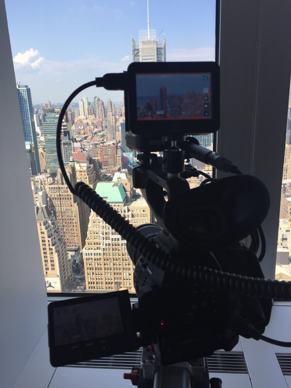 My Canon C100 mk ii & Ninja monitor/recorder filming out of a New York high-rise.
