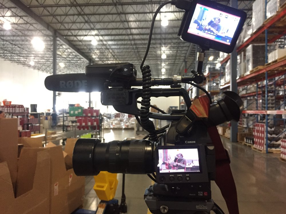Filming in a Chicago warehouse.