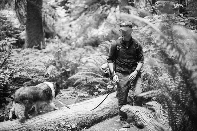 The puppers and me hiking along the Oregon Coast at Cape Falcon. He loves hiking, running, and fetch despite his slightly bum leg. Whether you want him to run or not, he will. . . . . . . . . . . . #Oregon #coast #hiking #beach #photography #adventurephotography #adventurephotographer #video #film #filmisnotdead #travel #adventure #explore #dog #sheltie #photo #d750 #50mm1.4 #50mm