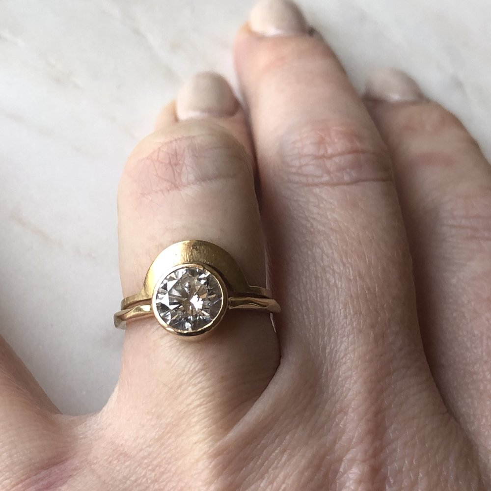 custom round 1.78 ctw diamond set in 14k yellow gold with arc band *sold*