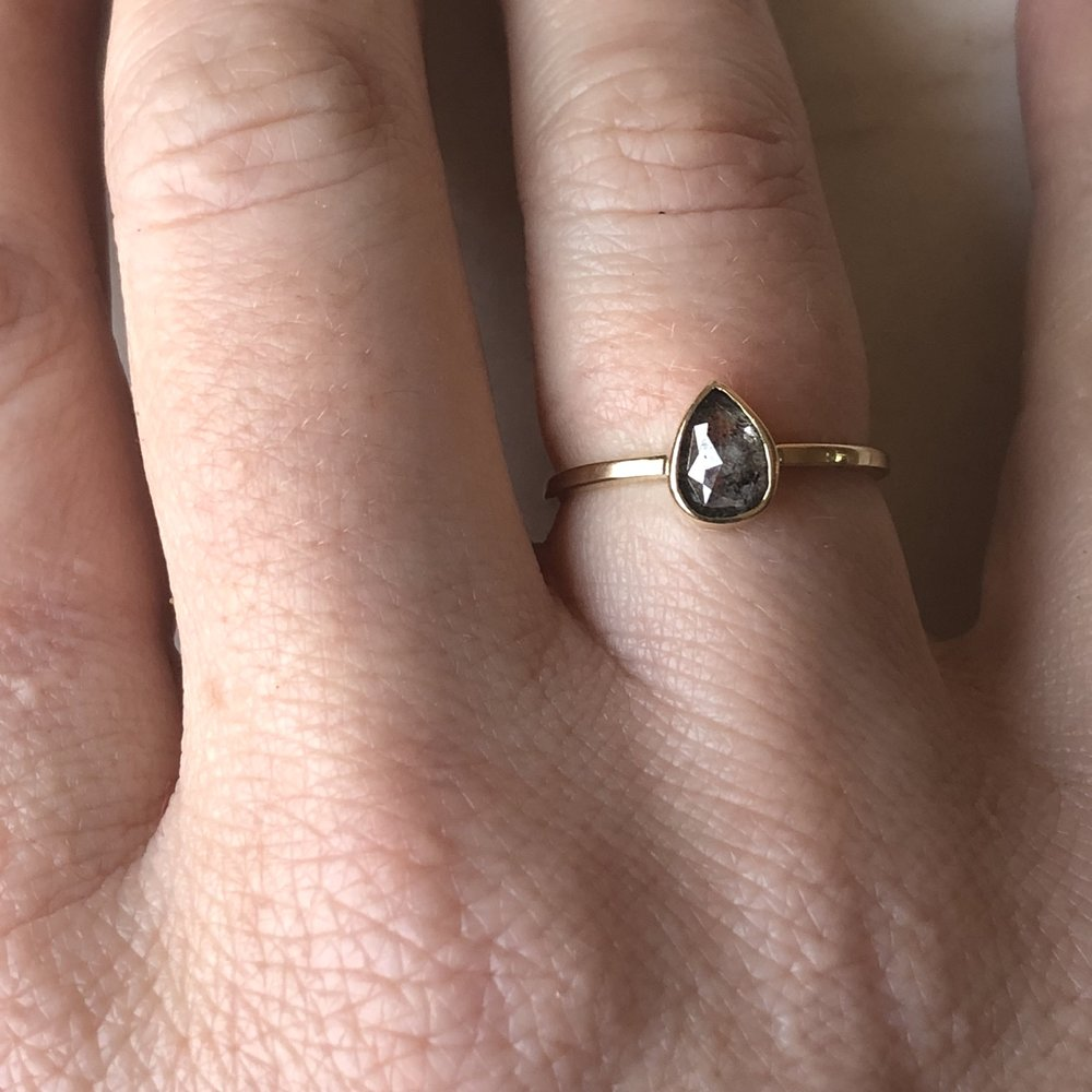 pear shaped .75 ctw salt & pepper diamond set in 14k yellow gold size 7. (can be resized) *  AVALABLE  *