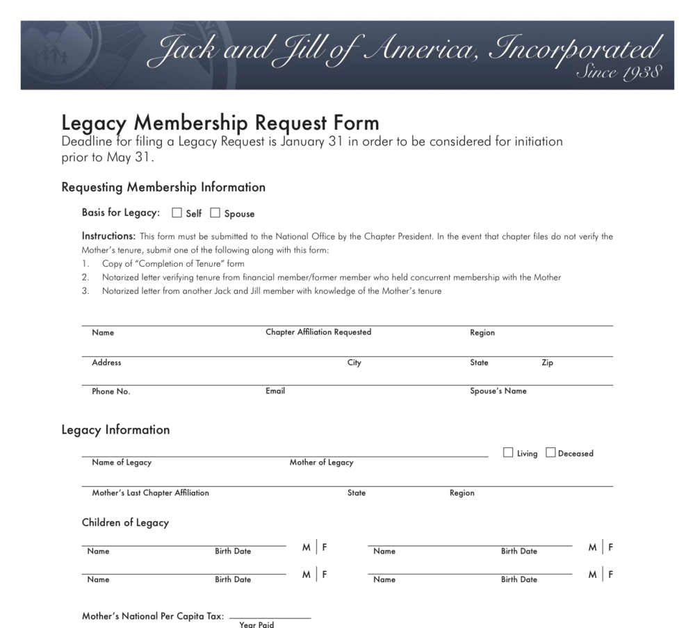 Legacy Membership Request Form