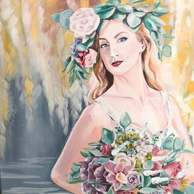 "A Bridal Portrait, Oil on Canvas, 20""X24"""