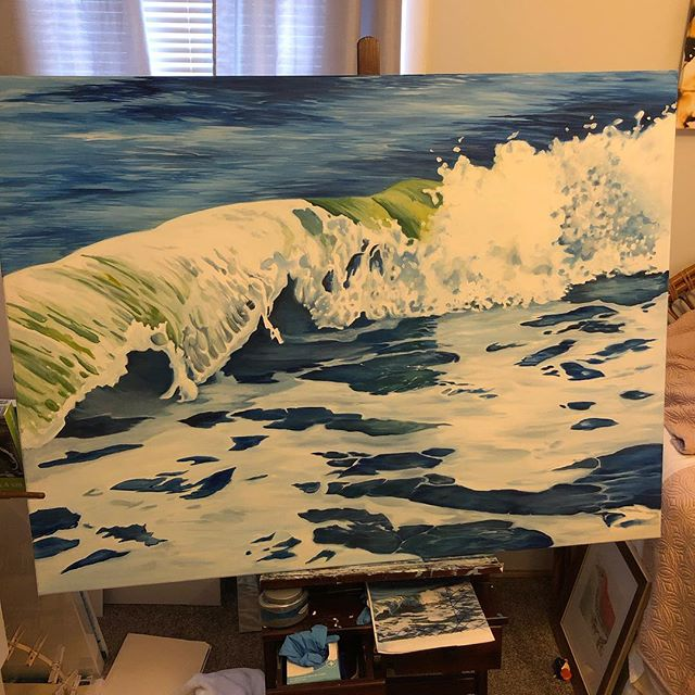 Still working my way through this one. #ocean #wip #lifeofanartist #artistsofinstagram #doitfortheprocess #wave #oilpainting #artcollecter #collectart