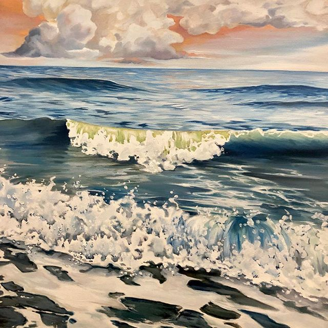 Close up! Just one of those golden Grand Strand skies! #myrtlebeach #ocean #oilpainting #lifeofanartist #doitfortheprocess