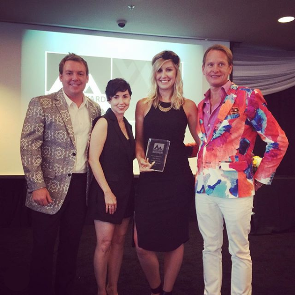 Kerry and Miche at the ANDYZ Awards with hosts Christopher Kennedy and Carson Kressley (2015)