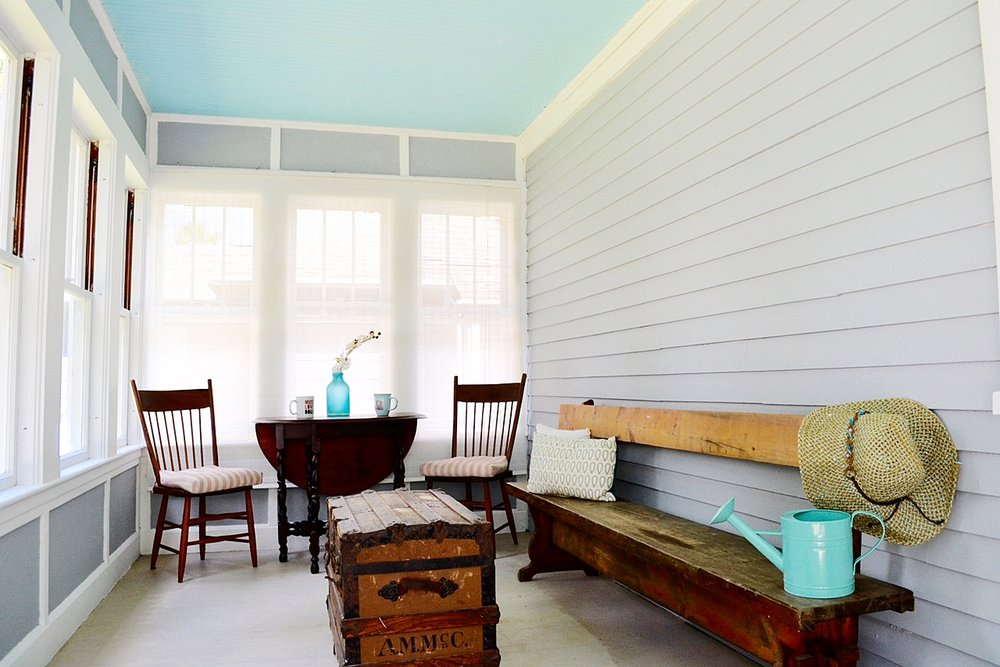 Staged home enclosed porch