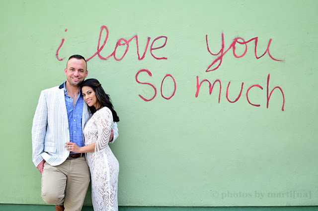 "The happy couple at the ""I love you so much"" wall in Austin, Texas"