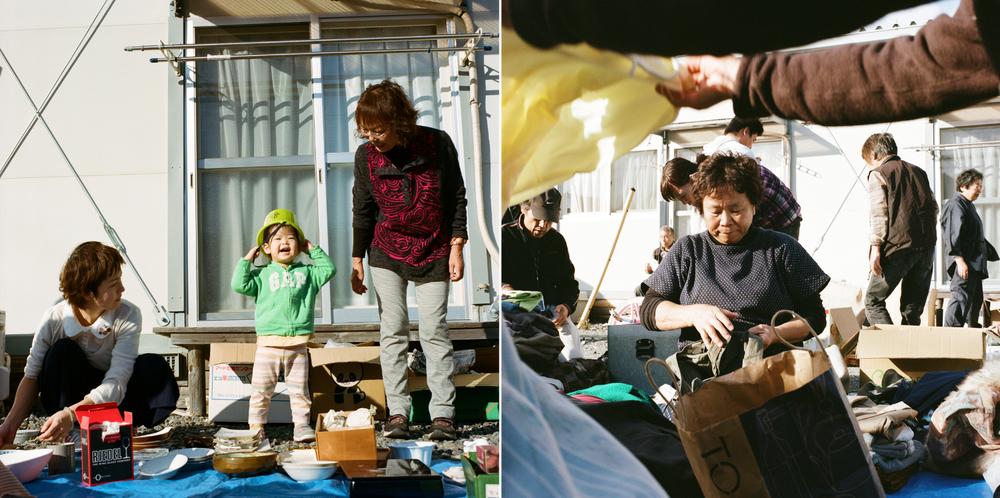 つなぐ会のボランティアをしており、服や物資を配るために仮設住宅を訪れます。服や物資の配給は冬の訪れに備えて行われます。これも地域交流の大切な時間です。