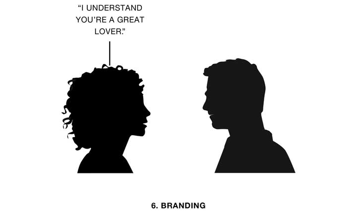 illustration of a woman saying to a man 'I understand you're a great lover
