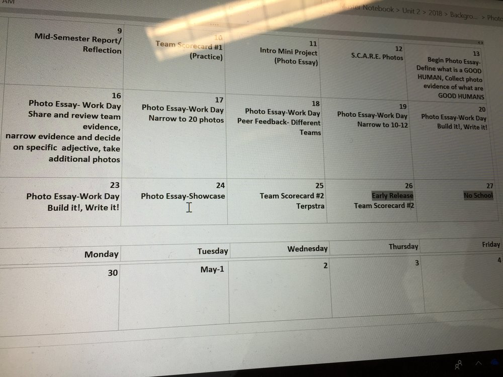 The calendar for our photo essay unit.