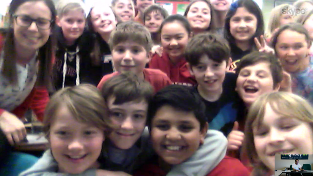 Taken during a Skype workshop with Mrs. Sloan's 5th/6th grade class at St. Leonard School in Ottawa, Ontario