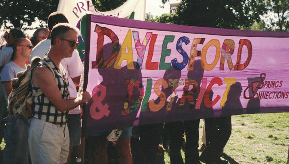 Springs Connection banner at Pride March, Midsumma 1997. Australian Lesbian and Gay Archives.