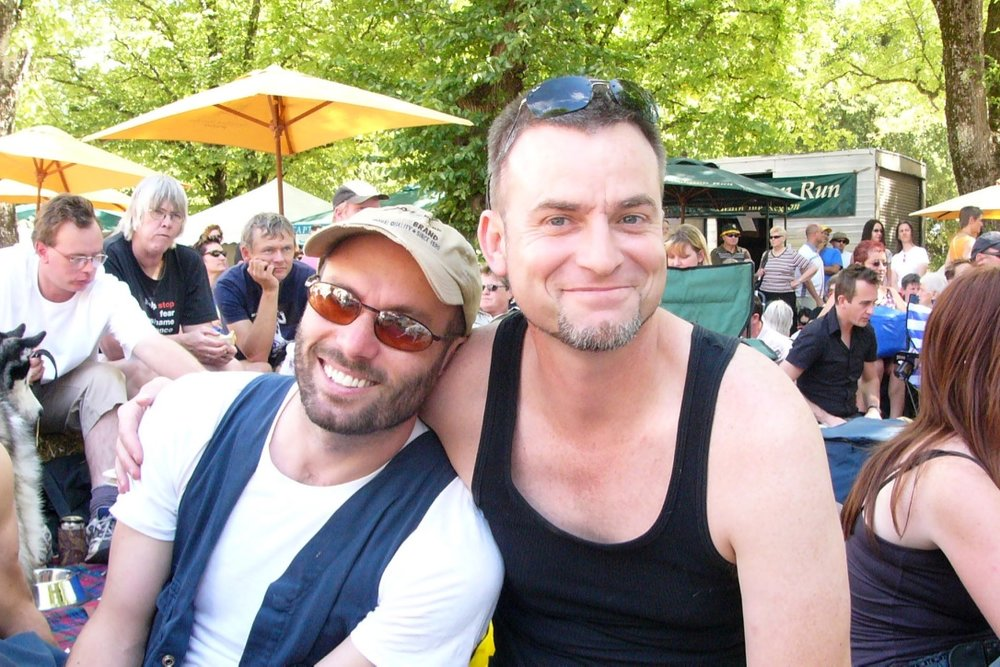 Paul Kidd (right) and husband Brett Allan, ChillOut 2006.