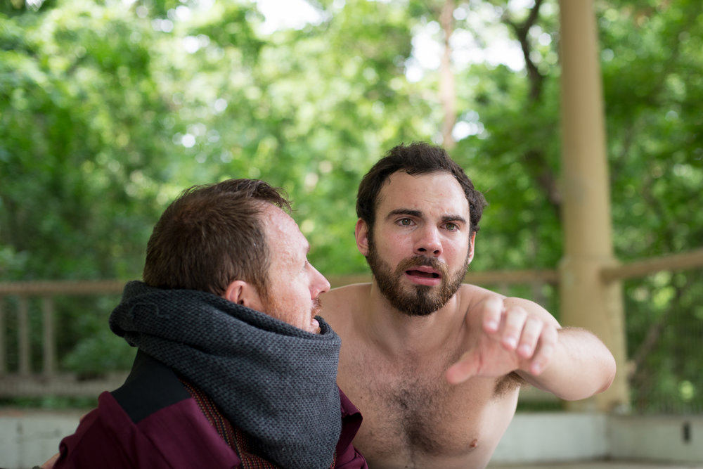 Brendan Walsh as Gertrude and Jake Austin Robertson as Hamlet