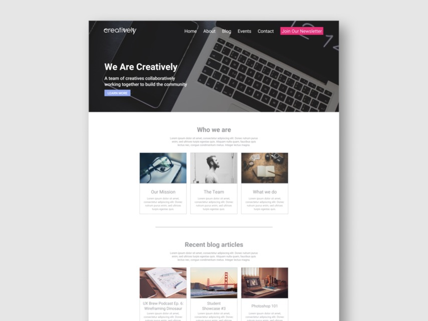 Creatively Landing Page Concept - Dribbble Shot.jpg