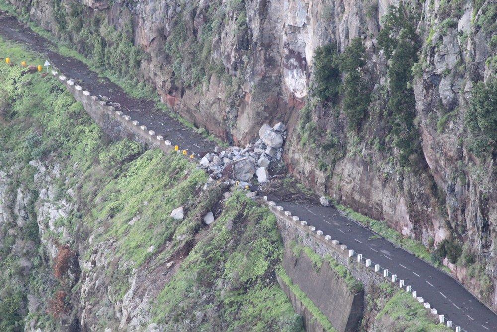 Rock crash on road