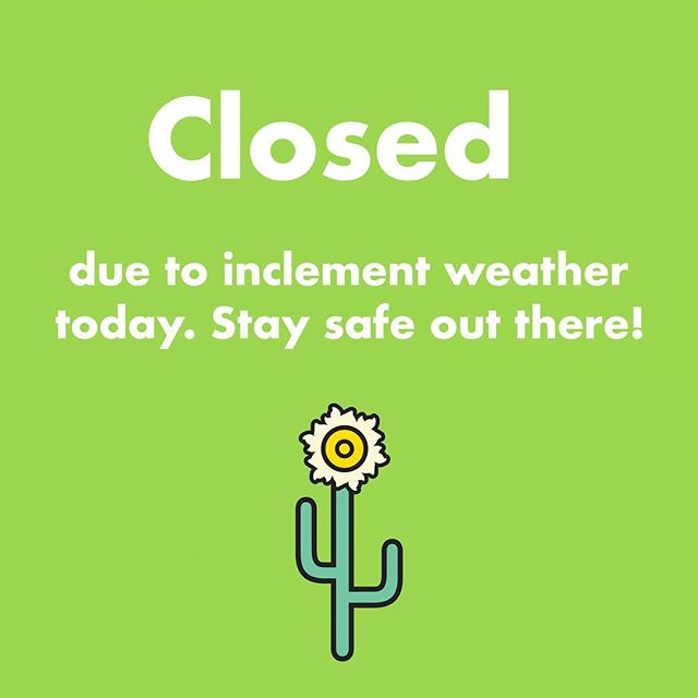 Today we will remained closed due to inclement weather. Stay safe and we hope we will be able to see you for taco Tuesday! Free queso tomorrow? 🧀(weather permitting)