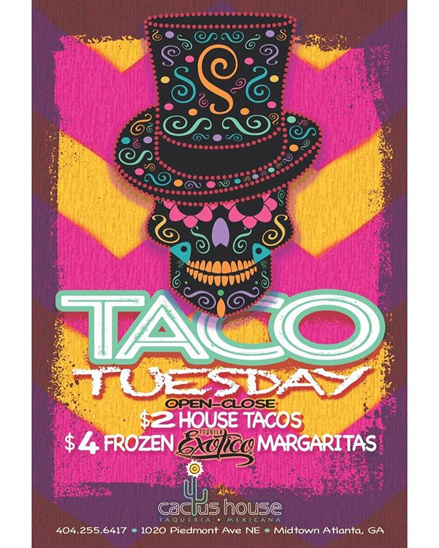 It's Taco Tuesday! $2 Chicken Pastor, Chicken Pibil, Pork Pibil, and Portobello mushroom tacos! Also- featuring our $4 frozen margaritas.