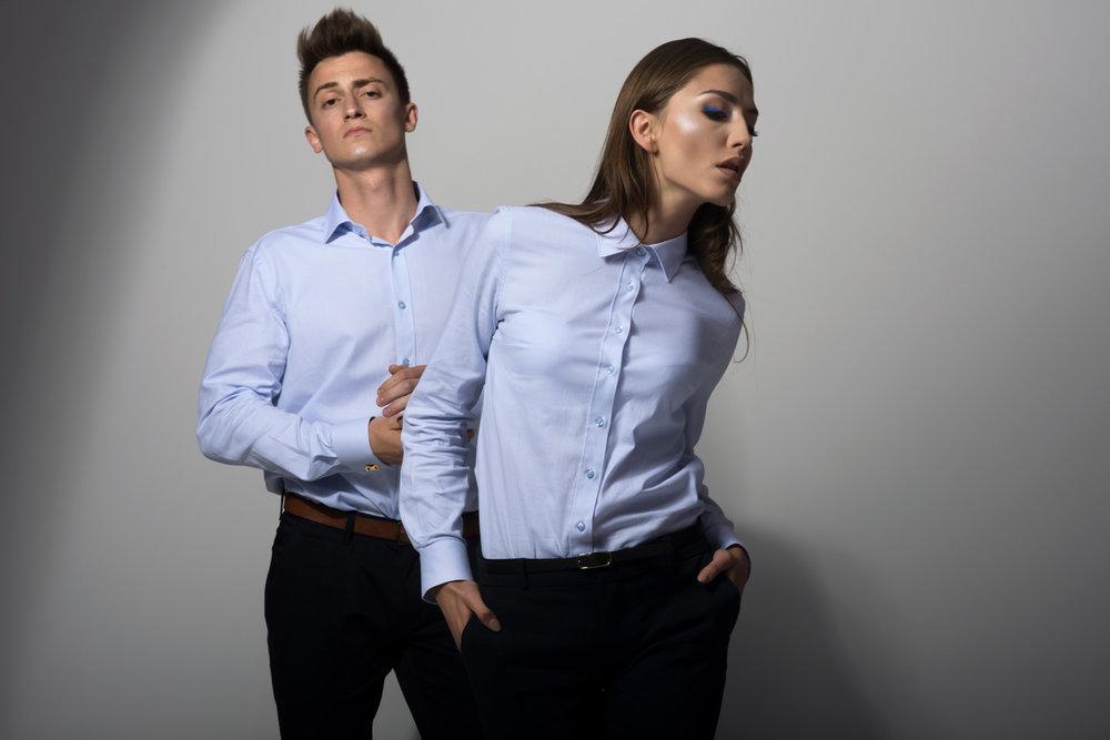 Men's double cuff shirt and women's formal shirt