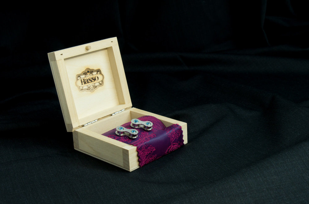 Silver cufflinks made from bike chain in gift box