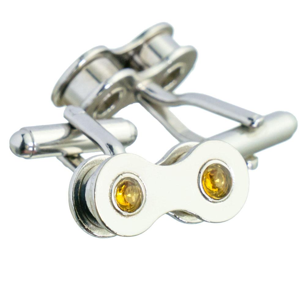 Bike chain silver cufflinks with citrine