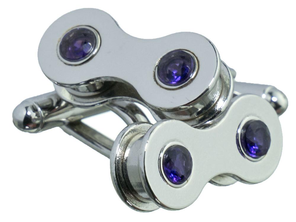 Silver cufflinks with amethyst