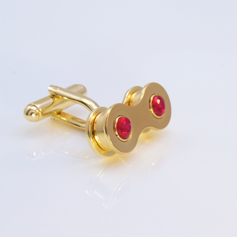 Gold ruby cufflinks