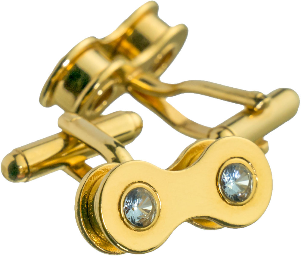 Gold bike chain cufflinks with aquamarine