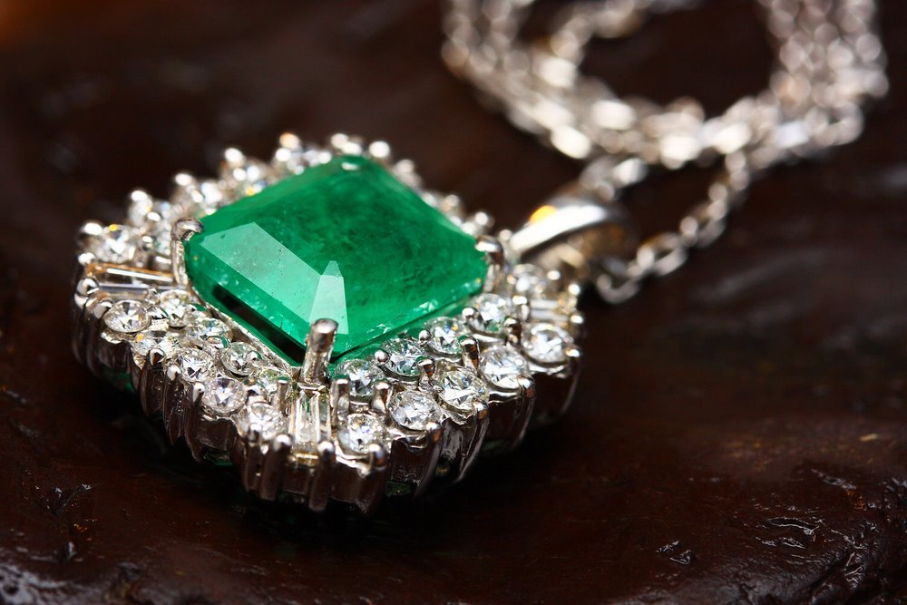 An emerald birthstone necklace