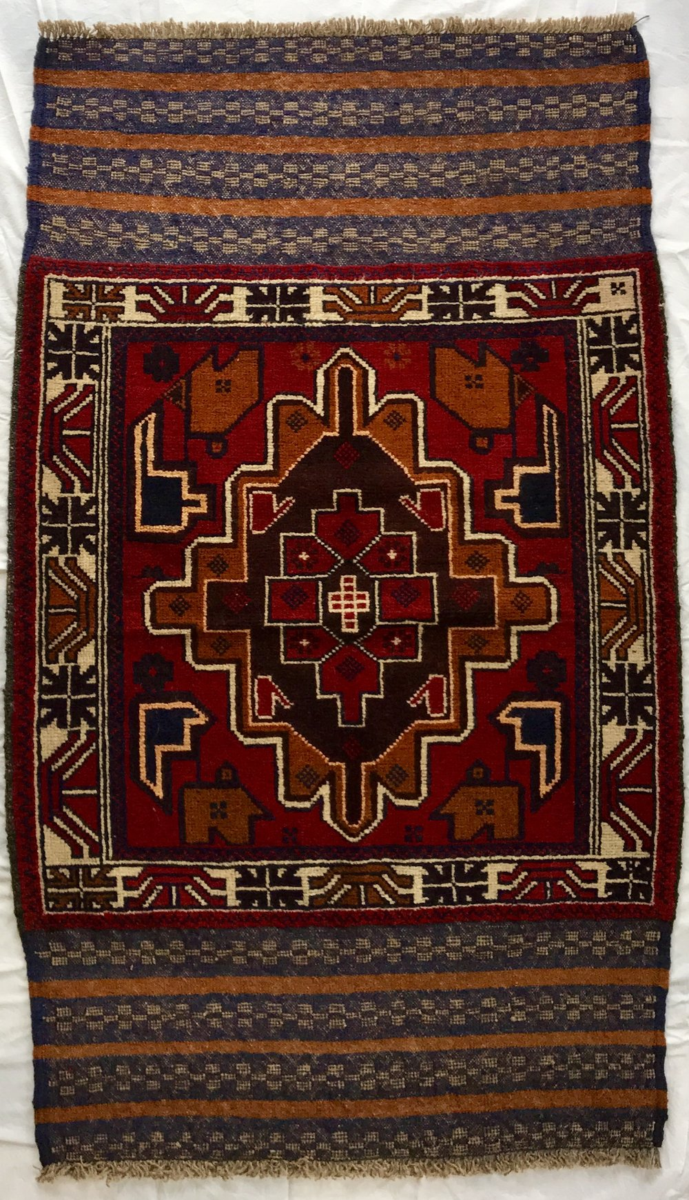BALUCHI TRIBAL AFGHAN RUG - RED (0.84X1.48)